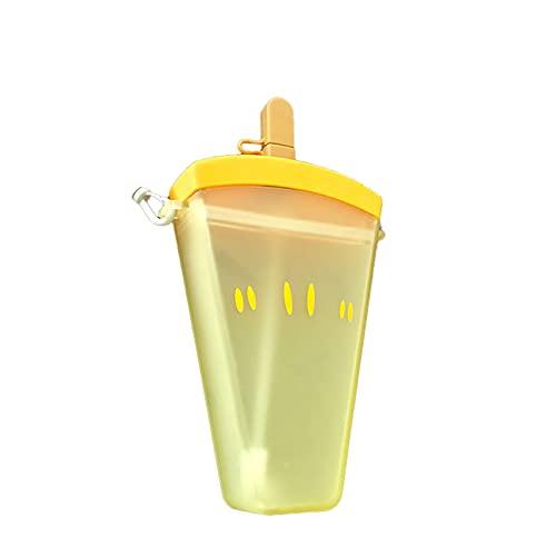 Taitan 320ml botellas de agua plásticas 4 colores lindo sandía helado botella de agua con paja anti-caída portátil paletas