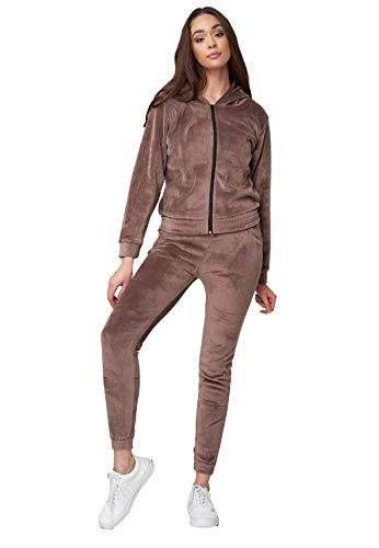Womens Nicki Cozy Suit Soft Velour Tracksuit Yoga Set Hoodie Stretch Waist Pants, Color:Marrón, Talla:S/M