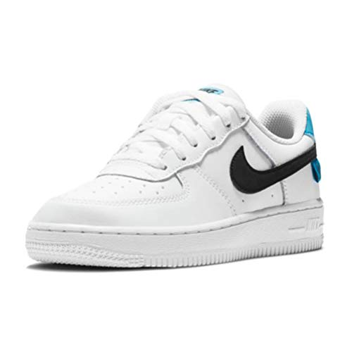 Nike Force 1 LV8 1 (PS), Zapatillas de bsquetbol, White Black Blue Fury, 29.5 EU