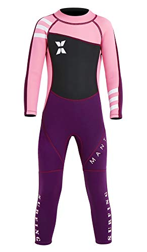 DIVE & SAIL Boys Girls Long Sleeve Wetsuit Thermal Long Sleeve Swimsuit UPF 50+ Sun Protection Sun Suit Pink M