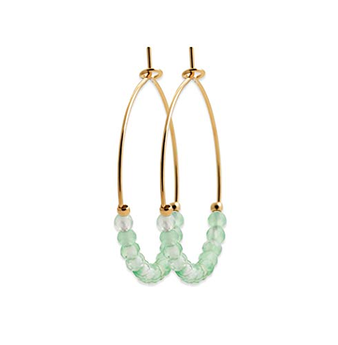 Tata Gisèle Creole Earrings in 18 Carat Gold Plated with Natural Aventurine Stones - Free Velvet Bag