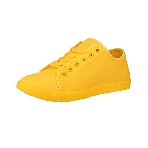 Elara Zapatilla de Deporte Unisex Low Top Textil Chunkyrayan Amarillo CL33319 Yellow-38
