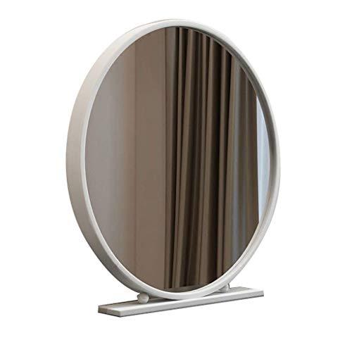 Espejo de vanidad Redondo Blanco con Soporte portátil HD Espejo de Escritorio Espejo Metal Marco de tocador Grande/Moderno Belleza Maquillaje Espejo (Color : White, Size : 40cm)
