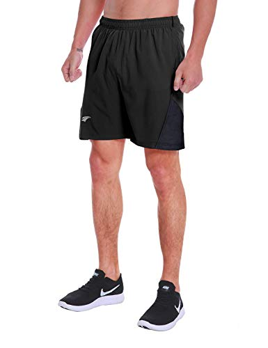 EZRUN Men's 7 Inch Quick Dry Running Shorts Workout Sport Fitness Short with Liner Zip Pocket(Black,M)
