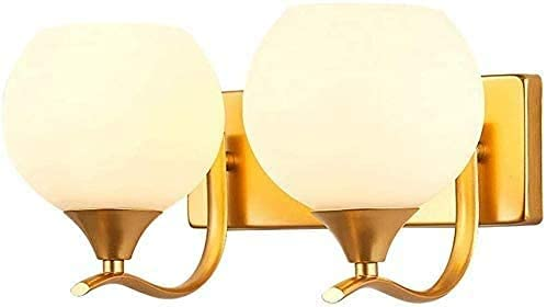 FXLYMR Wall Lamp Chandelier Luxury Fashion Double Head Glass Lampshade Wall Siet Modern Led with Sconce Creative Metal Indoor Wash Lighting Fixture for Bedroom Hallway Home [Energy Class A]