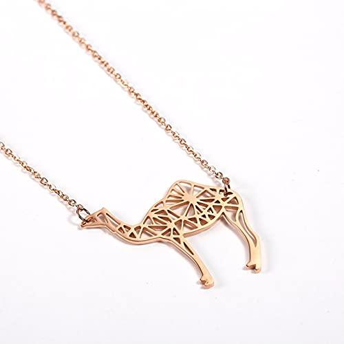 OYHBV Collar Collar De Camello De Acero Inoxidable A La Moda, Joyería De Animales, Collar De Joyería En Forma De Silueta De Camello Simple, Regalo del Desierto
