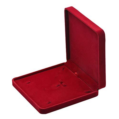 Meijin Caja de anillo para collar, pendientes, joyería, caja de regalo, anillos y pulseras, organizador de almacenamiento, bandeja para anillos (color rojo vino)