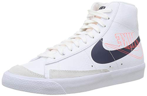 Nike Blazer Mid 77, Scarpe da Basket Uomo, White/Midnight Navy/Sail-Summit White, 42 EU