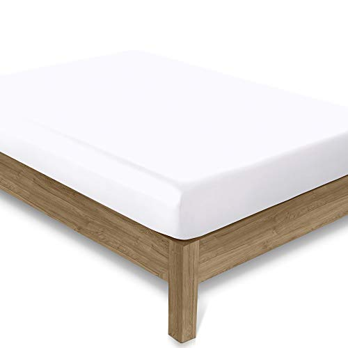 Fitted Sheet 160 x 200 cm Pure White 100% Organic Cotton 1-Piece Soft, Cool...
