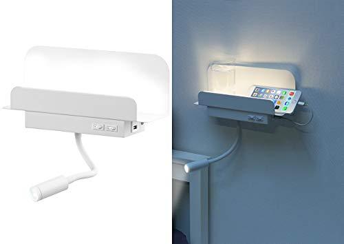Carlo Milano Bettlicht: Wandregal mit Leselicht, Nachtlicht & USB-Ladeport, 445 Lumen, weiß (Nachttisch)