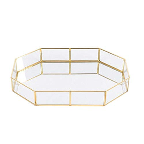 DOOLLAND Bandeja de cristal para joyas con alambre dorado, organizador de almacenamiento de metal con espejo decorativo para maquillaje, para té, perfumes y expositores (20 x 14 x 4,5 cm)