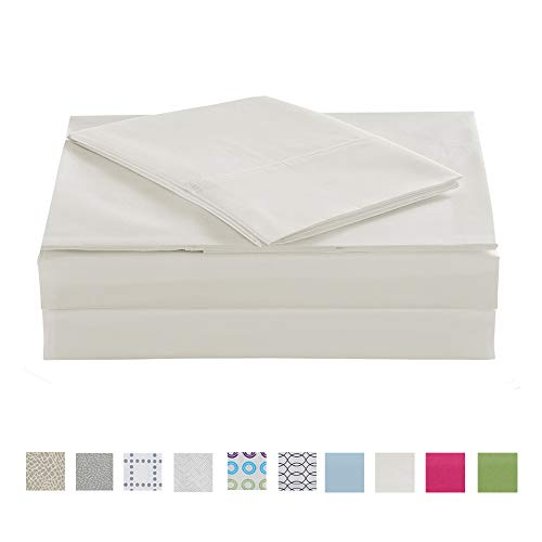 Queen Size Bed Sheet Set 4 Pieces, Cotton Polyester Blend Percale Queen Bed Sheets -- Anti-Wrinkle, Breathable, Crisp and Refreshing Feeling Cotton Rich Bedding Sheets