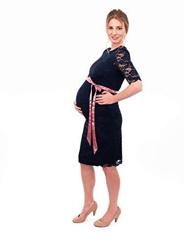 Herzmutter Umstands-Spitzen-Kleid, Elegantes-Knielanges Schwangerschafts-Kleid für Festliche Anlässe, mit Spitze aus Baumwoll-Mix, Creme-Weiß-Dunkelblau (6200) (Dunkelblau) - 7