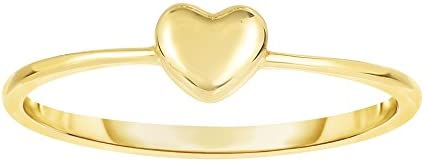 14K Yellow Gold Puffy Heart Ring, Size 7