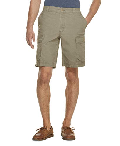 IZOD Men's Saltwater Stretch 10.5' Cargo Short, Cedarwood Khaki, 38