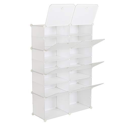通用 Organizador portátil de 7 capas, 28 pares, estante de torre de 14 celdas, trípode, ampliable para tacones, botas, zapatillas, blanco