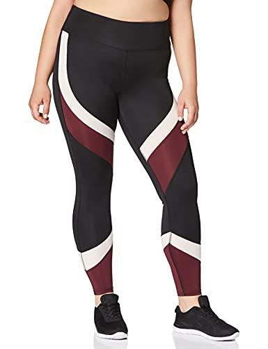 Aurique Leggings deportivos para Mujer, Negro (Black/Port Royale/Blush), L