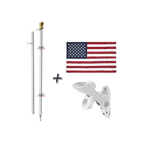 Jetlifee 3x5 Feet American Flag with Pole Including 100% Polyester US Flag, 6 ft Aluminum No Tangle Spinning Pole and 2-Position Flag Pole Bracket