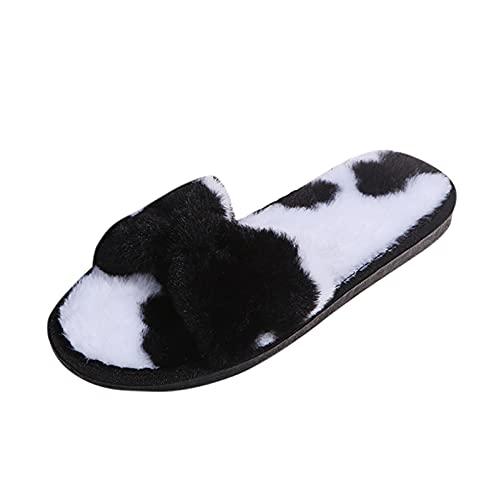 Bow-knot - Zapatillas de estar por casa para hombre y mujer, de felpa, cálidas, forradas con felpa, para el hogar Plus, aterciopeladas, cómodas, planas y antideslizantes., Negro , 36 EU