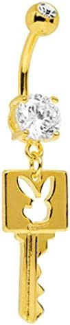 Officially Licensed Gold Key Playboy dangle gp Belly navel Ring piercing bar body jewelry 14g