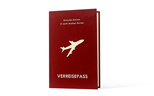 3 D Karte mit Umschlag Koffer Verreisepass Flugzeug Karte für Geldgeschenk Reise Flug Urlaub Grußkarte Geburtstagskarte zum Beschriften