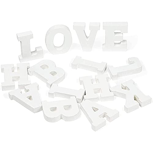 3D Wood Letter Alphabet for Table Top, Party Decor, A-Z (3 inch, 54 Piece, White)