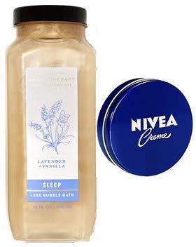 Bath and Body Works Aromatherapy Sleep Lavender Vanilla Bubble Bath 15 Oz. Travel Size Body Cream 1 Oz.