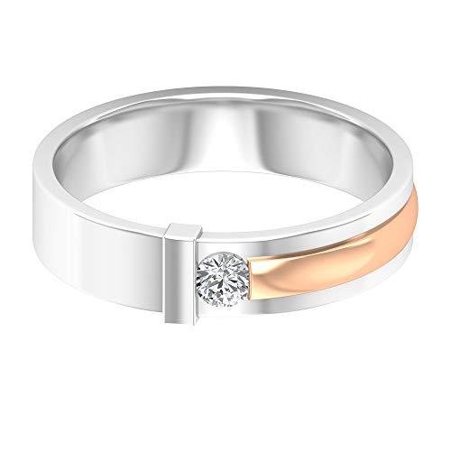 Anello eternity da uomo con diamante solitario da 0,11 ct, anello nuziale, certificato SGL, classico, in metallo misto, 14K Oro rosa, Size:EU 58
