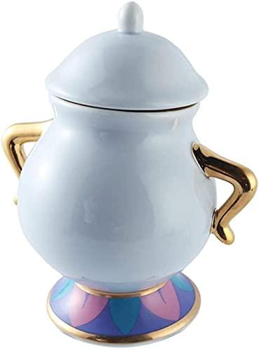 Belleza de dibujos animados y el conjunto de té de la bestia Taza de tetera MRS Potts Chip Sugar Pot Kettle Clock-1_Teapot_and_3_cups-1 PCS Sugar Pot