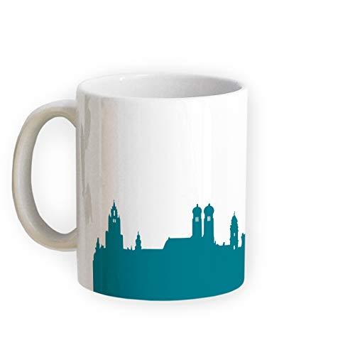 Tasse München Skyline - Bürotasse Kaffeebecher Städtetasse 5 Farben - Personalisierte Geschenkidee für Münchener & Fans, Umzug Richtfest Architekt