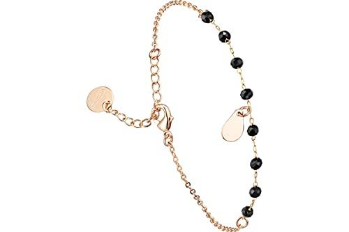 Clyda - Pulsera de cadena con perlas de acero, oro de cristal Swarovski, color negro