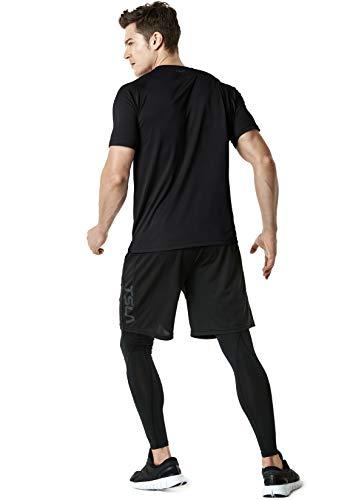(テスラ)TESLA半袖tシャツ機能性クルーネックシャツ[UVカット・吸汗速乾]ランニングトレーニングアウトドアスポーツメンズMTS30-BLK_S