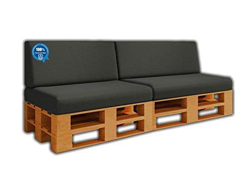 Pack Ahorro 2 Asientos + 2 Respaldo de Cojines para Sofa de palets / europalet | Desenfundable | Interior y Exterior | Color Gris Nautico | 100% Impermeable | Espuma de Alta Densidad.