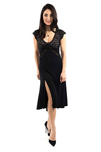 Das V-Argentinische Tango-Kleid ((UK) XL, Schwarze Jersey/Schwarze Spitze)