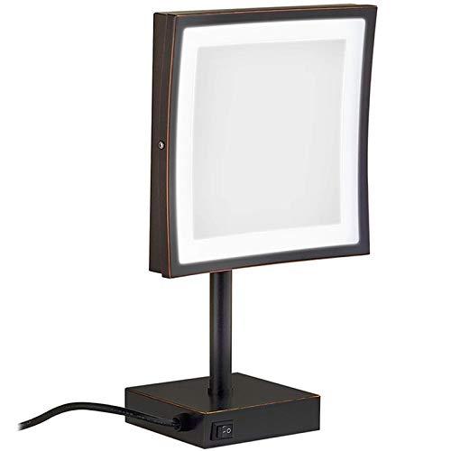 Espejo Maquillaje DMNSDD LED Espejo Maquillaje con Luces, 8 Pulgadas latón Espejos tocador encimera Aumento 3X Espejo cosmético Iluminado con Interruptor y Enchufe