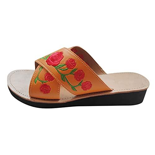 KHIIen Women Open Toe Criss-Cross Strap Slide Cork Sandals Indoor Breathable Outdoor Sandals Summer Beach Flats Shoes