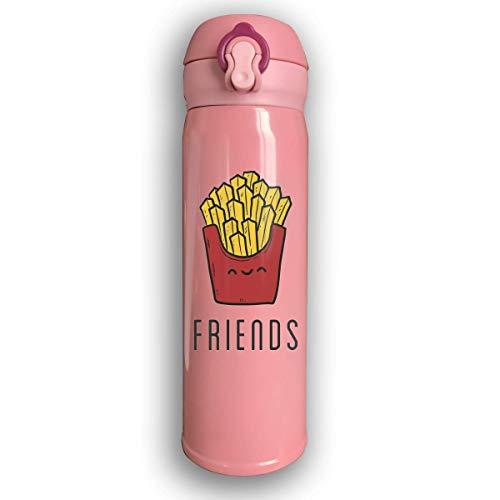 Bestqe Edelstahl-Trinkflasche,Doppelwandige Vakuum Isolierte Wasserflaschen Cartoon Chips Auslaufsichere Thermosflasche 17 Oz