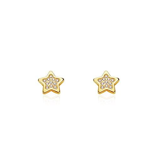 Orecchini per bambini stella - oro giallo 18K (750)
