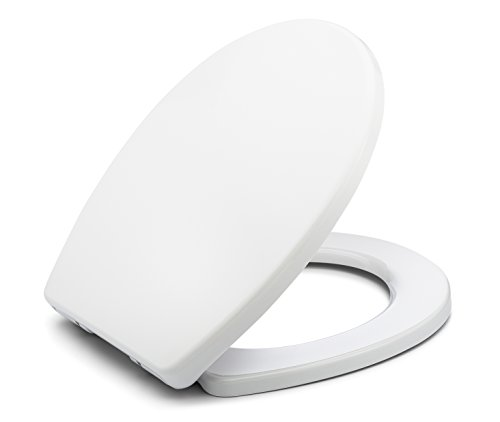 BATH ROYALE BR283-00 MasterSuite Round Toilet Seat with Cover, White - Slow Close, Easy Clean, Replacement Toilet Seat Fits All Toilet Brands including Kohler, Toto and American Standard (Round Size)