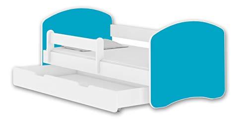 ACMA Cama infantil II + cajón de colchón blanco 140 x 70 160 x 80 180 x 80 (140 x 70 cm + cajón, blanco - azul)