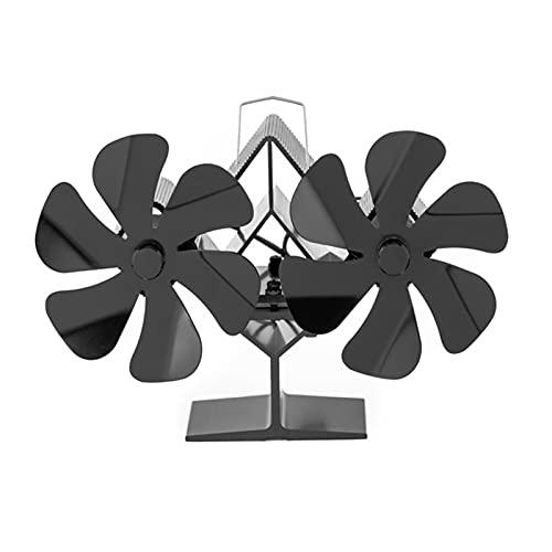 Linsition Ventilatore a 12 pale per stufa a doppia ventola a stufa, funzionamento silenzioso, circolazione del calore sicura ed ecologica per legna/stufa a legna/camino