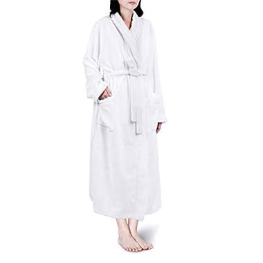 PAVILIA Premium Women Fleece Robe with Satin Trim | Luxurious Super Soft Plush Bathrobe