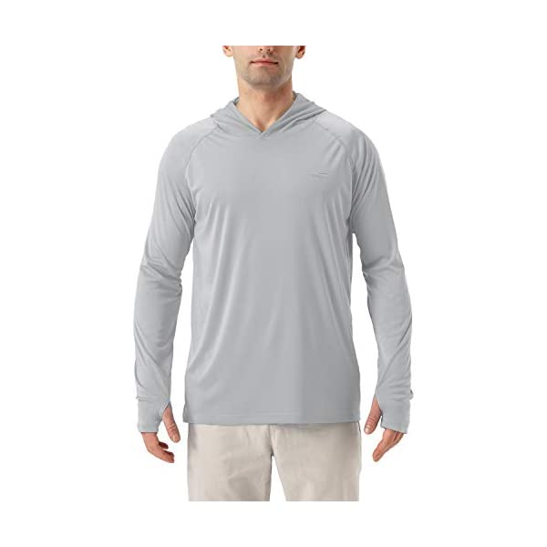 Men's UPF 50+ UV Sun Protection Hoodie Long Sleeve Rash Guard Hiking Fishing Swim T Shirt