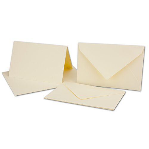 25 Sets - großes Kartenpaket mit 25 Faltkarten & 25 Umschlägen DIN B6 in Creme-Chamois - GERIPPT