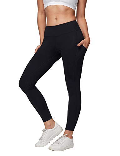 AJISAI Womens Workout Leggings Mid-Waist Yoga Pants Running Tights with Side Pockets