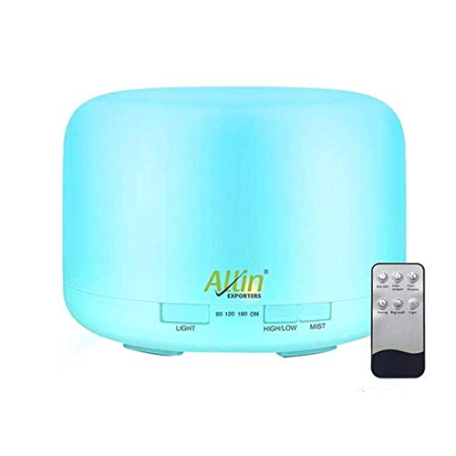 Allin Exporters Aromatherapy Diffuser Essential Oil 4 in 1 to Purify, Ionize, Humidify & Spread Aroma Ultrasonic Humidifier with Timer Cool Mist with 7 Color Changing LED Lights (with Remote)
