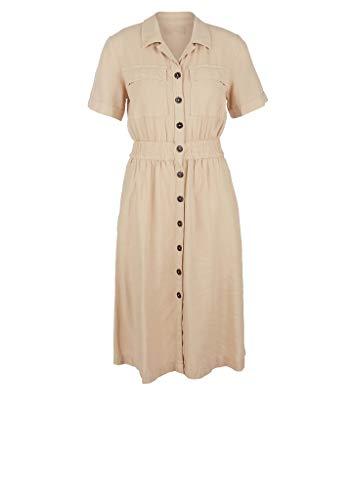 s.Oliver Damen Leinenmix-Kleid mit Knopfleiste latte 44