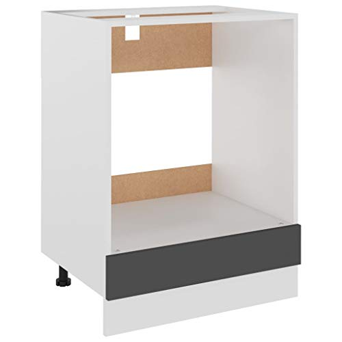 vidaXL Herdumbauschrank Küchenschrank Ofenschrank Backofenschrank Herdschrank Küchenzeile Küchenmöbel Backofen Grau 60x46x81,5cm Spanplatte