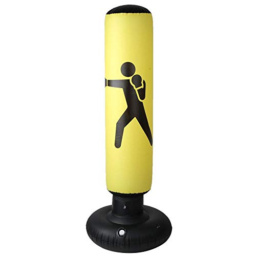 Solomi Boxsack, Aufblasbarer Säulenbecher Boxsack, PVC Fitness Kickboxen Muay Thai Training Sandsack 160CM(Gelb)