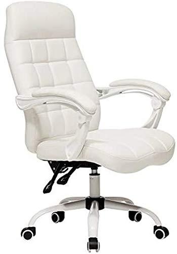 JFFFFWI Executive Recline - Silla de oficina acolchada extra con diseño de 160°, diseño a cuadros, peso de 150 kg, relax completamente (color: blanco lechoso)